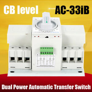 63a 3p 50hz 60hz Dual Power Automatic Transfer Switch 128mm 122mm With Manual