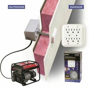 Indoor Outdoor 30 amp 6 space Generator Power Inlet Box Through The Wall Kit New