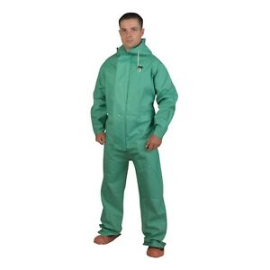 Apex fr Green Chemical Coveralls W hood Flame Resistant rs45g