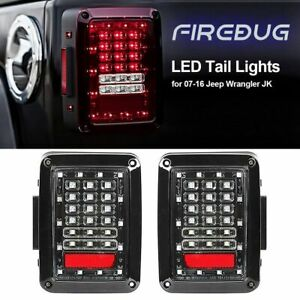Pair Jeep Wrangler Led Tail Light Clear Len Rear Light For Jk Jku 2007 2017