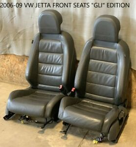 2006 2009 Vw Volkswagen Jetta Leather Front Bucket Seats Black Gli Embroi