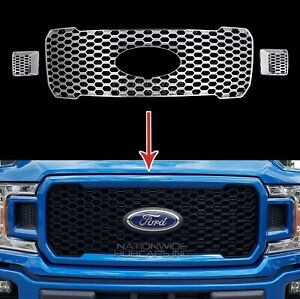 2018 2020 Ford F150 Xl Stx Chrome Snap On Grille Overlay Full Grill Cover Insert