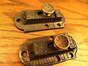 Old Brass Bronze Knob Cupboard Latch Cabinet Latches Ornate Matching Pair