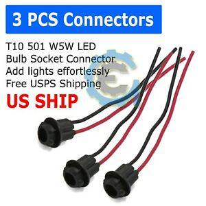 3pcs T10 Socket Clearance Cab Marker Light Holder Replacement Connector Harness