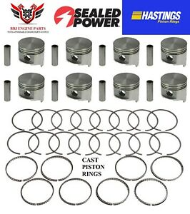 Chrysler Dodge Mopar 383 V8 Sealed Power Pistons 8 With Hastings Rings 59 71