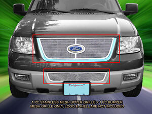 Stainless Steel Mesh Grille Grill Combo For Ford Expedition 2003 2006
