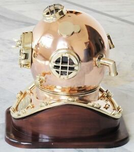 Solid Brass Copper Heavy Grade Divers Helmet Vintage Diving Helmet 18 With Base