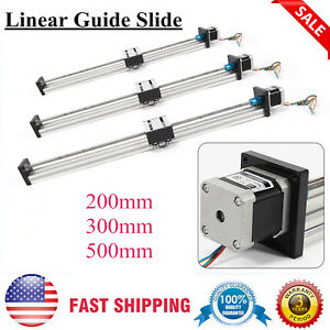 200 500mm Travel Cnc Linear Guide Slide Sliding Guide Rail Guide Stepping Motor