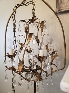 Stunning Vintage 8 Arm 4 Light Italian Tole Gold Birdcage Chandelier New Wiring