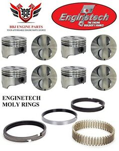 Enginetech Ford Mercury 289 302 Flat Top Pistons With Premium Moly Rings 64 85