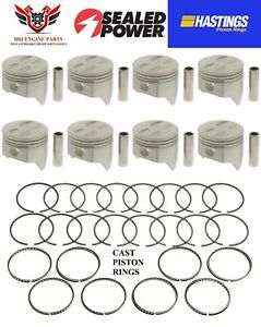 Ford 289 302 5 0 Sealed Power Flat Top Pistons 8 With Hastings Rings 64 85