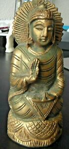 Asian Vintage Wood Carved And Painted Buddha Figure