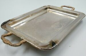 Leonard Silver Plated 17 Serving Tray Platter Floral Handles Feet Silverplate