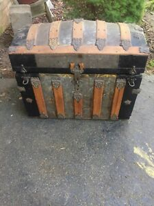 Vintage Antique Domed Steamer Trunk Victorian Solid Wooden Chest