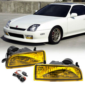 For Honda Prelude 1997 2001 Yellow Bumper Fog Lights Driving Lamps W switch