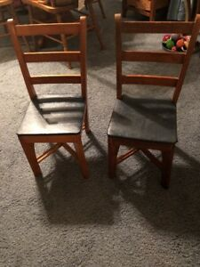 Vintage Pair Children S Ladder Back Wooden Chairs With Vinyl Seats