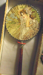 Ornate Glass And Brass Hand Held Mirror Victorian Lady Under Glass On One Side