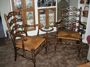 Antique Karpen Colonial Ladderback Chairs With Arms Rush Seat Pickup Only