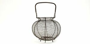 Antique French Wire Egg Gathering Basket With Coiled Fixed Handle