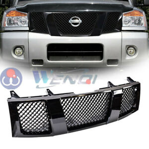 For Nissan Titan 2004 2006 Abs Gloss Black Front Hood Bumper Mesh Grille