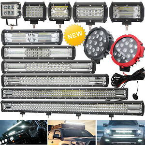 Cree Led Work Lights Light Roof Bars Spot Flood Beam 12v 24v Offroad Suv Truck