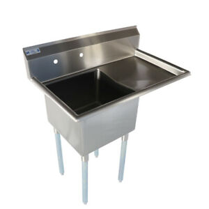 Toolots 38 1 2 18 ga Ss304 One Compartment Commercial Sink Right Drainboard