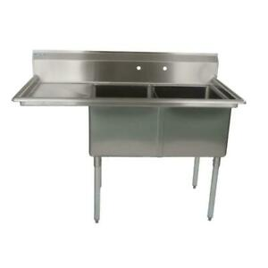 74 1 2 18 ga Ss304 Two Compartment Commercial Sink Left Drainboard
