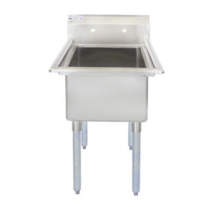 Toolots 23 18 ga Ss304 One Compartment Commercial Sink 18 X 18 X 12 Bowl