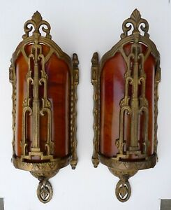 Vintage Pair Art Deco Or Spanish Revival Sconces With Rare Catalin Shades