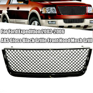 For Ford Expedition 2003 2006 Abs Gloss Black Grille Front Hood Mesh Grill