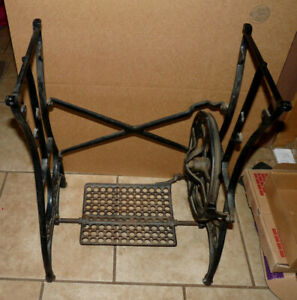 Antique Treadle White Sewing Machine Cast Iron Base Stand Table Shabby Chic