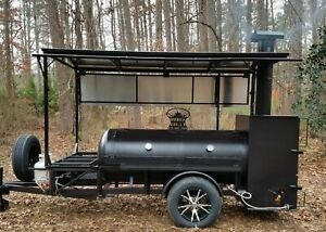 Bbq Pit Smoker Competition Trailer Double Racks Barbecue Concession Rib Box