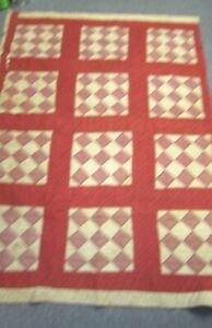 Antique Hand Stitched Red White Diamond Quilt Piece For Crafts Cutter