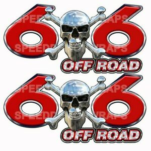 6x6 Off Road Truck Decals Dually Truck Graphic Decal Chrome Skull Red Sd101or6
