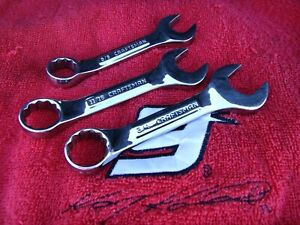 3pc Craftsman 12 Point Full Polish Industrial Stubby Wrenches Made In Usa Exc