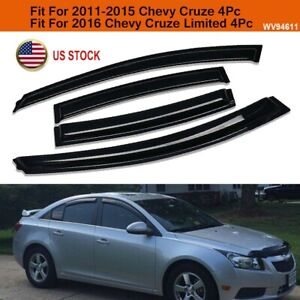 For 2011 2015 Chevy Cruze Smoke Window Vent Visor Sun Rain Guards Deflector 4pc