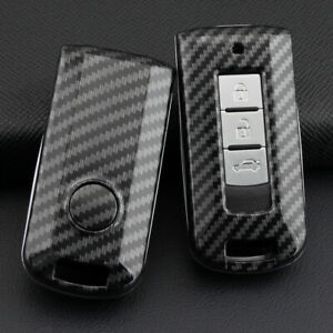For Mitsubishi 2008 Carbon Fiber Hard Key Fob Case Shell Cover Accessories