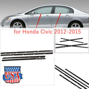 4x Car Outside Window Moulding Weatherstrip Seal Belt For Honda Civic 2012 2015