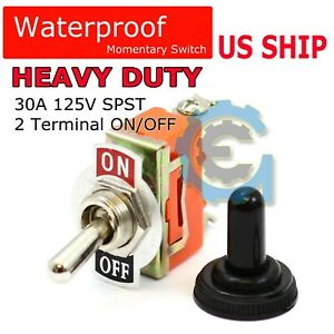 Toggle Switch Heavy Duty 20a 125v Spst 2 Terminal On off Car Waterproof Boot Atv