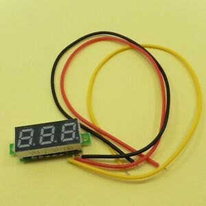 Three Wire 0 28 0 100v Led Mini Digital Voltage Meter 3 Cables 0 28inch 12v