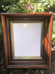 Antique Victorian Walnut Wood Picture Frame Gilded Deep Well Eastlake Style