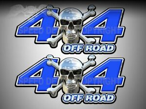 4x4 Off Road Truck Decals Truck Side Tailgate Vinyl Chrome Skull Blue Sd105or4