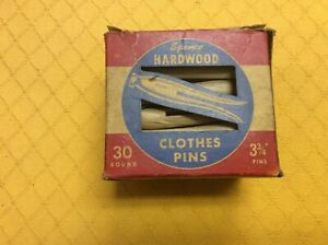 Vintage Box Of Spence Round Hardwood Clothes Pins 30 Ct 3 3 4