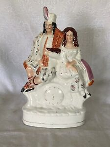 Magnificant Large Antique Staffordshire Highland Couple Clock Figurine C1860