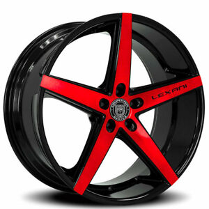 22 Staggered Lexani Wheels R four Black With Brushed Red Rims Fit Mustang