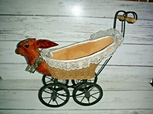 Victorian Doll Carriage Carved Rabbit Baby Stroller Wicker Iron Wood