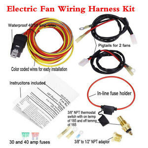 Dual Electric Engine Fan Wiring Harness Kit relay thermostatic Switch fuse Block