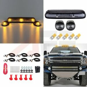 3pcs Clear Roof Cab Clearance Lights Amber Led Grille Light For Chevy Gmc 12v