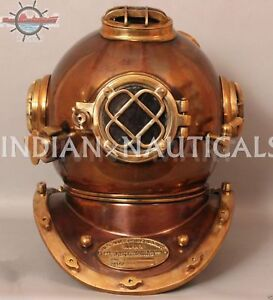 Boston Mass U S Navy Mark V Solid Copper And Brass Full Size Diving Helmet Diver