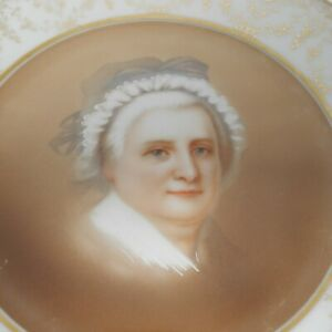 Thomas Co Martha Washington Portrait Plate Vintage Gold Rimmed